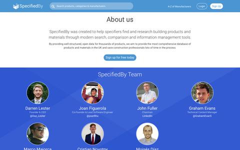 Screenshot of About Page specifiedby.com - About | SpecifiedBy - captured Nov. 1, 2017