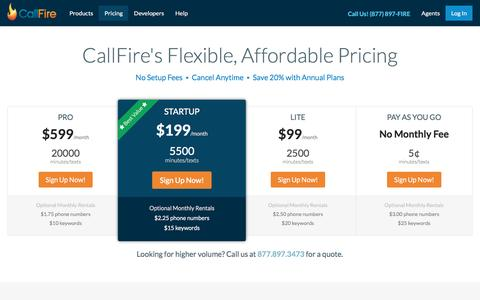 Screenshot of Pricing Page callfire.com - Pricing on Call Tracking, SMS Text Messaging, IVR & More | CallFire - captured Dec. 9, 2015