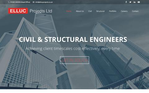 Screenshot of Home Page ellucprojects.co.uk - Civil & Structural Engineers | Elluc Projects Ltd - captured Jan. 23, 2016