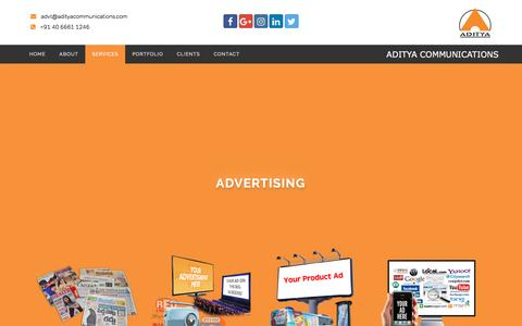 Screenshot of Services Page adityacommunications.com - Aditya Communications - captured Dec. 27, 2016