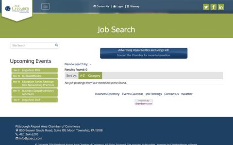 Screenshot of Jobs Page paacc.com - Job Search - Pittsburgh Airport Area Chamber of Commerce, PA - captured Nov. 6, 2016