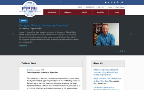 Screenshot of Home Page fpri.org - FPRI   Foreign Policy Research Institute - captured Sept. 19, 2014