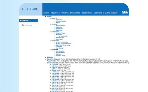 Screenshot of Site Map Page ccltube.com - CCL TUBE > Sitemap - captured Sept. 26, 2014