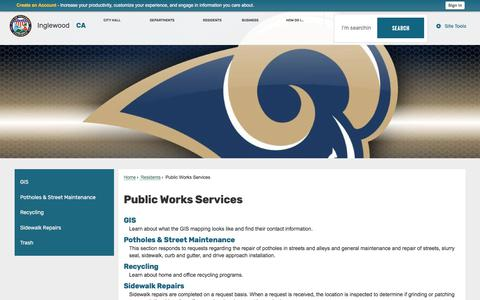 Screenshot of Services Page cityofinglewood.org - Public Works Services | Inglewood, CA - captured June 27, 2017