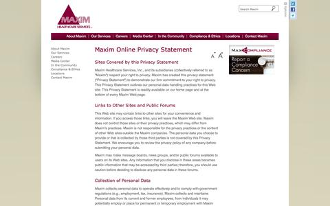 Screenshot of Privacy Page maximhealthcare.com - Privacy Policy- Maxim Healthcare Services - captured Nov. 28, 2016