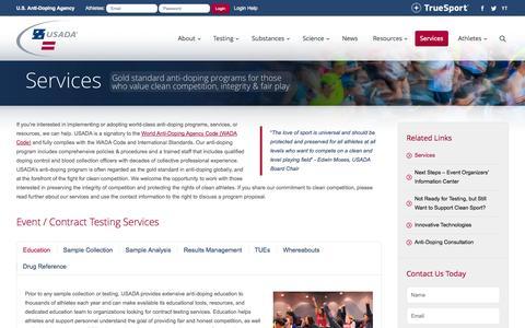 Screenshot of Services Page usada.org - Anti-Doping Services   U.S. Anti-Doping Agency (USADA) - captured Sept. 22, 2014
