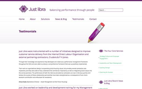 Screenshot of Testimonials Page justlibra.com - Testimonials - Just Libra - captured Sept. 30, 2014
