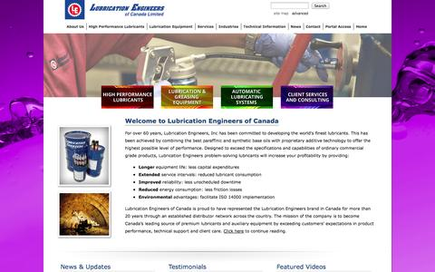 Screenshot of Home Page lubeng.com - Lubrication Engineers of Canada Ltd.- Welcome - captured Oct. 3, 2014