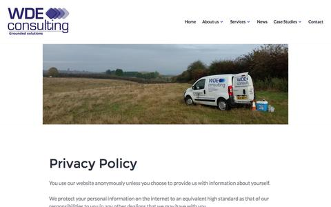 Screenshot of Privacy Page wdeconsulting.co.uk - Privacy Policy – WDE Consulting - captured Dec. 20, 2016