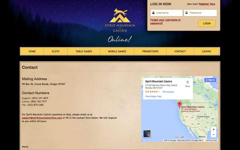 Screenshot of Contact Page spiritmountainonline.com - Contact | Spirit Mountain Casino - captured July 2, 2016