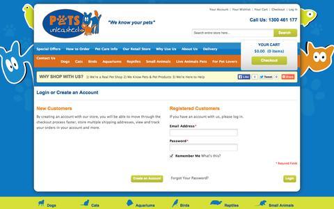 Screenshot of Login Page petsunleashed.com.au - Customer Login | your online pet shop - captured Nov. 1, 2014