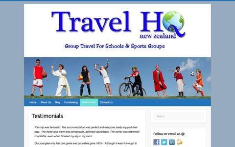 Screenshot of Testimonials Page travelhq.co.nz - Testimonials – Travel HQ - captured Dec. 13, 2016