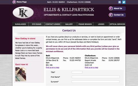 Screenshot of Contact Page ellisandkillpartrick.com - Ellis & Killpartrick Optometrists - Eye Exams - Cheltenham, Bristol - captured Oct. 2, 2014