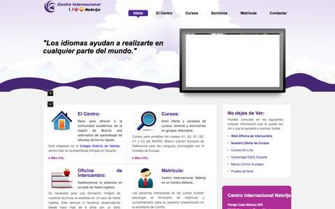 Screenshot of Home Page centrointernacionalnebrija.com - Centro Internacional Nebrija. Centro de Formación en Idiomas. Inglés. Francés. Español. Exámenes Oficiales MCER. Murcia. Colegio Antonio de Nebrija. - captured April 16, 2016