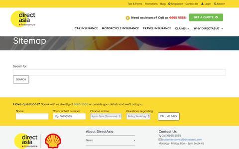 Screenshot of Site Map Page directasia.com - DirectAsia Sitemap | DirectAsia Insurance - captured Oct. 8, 2018