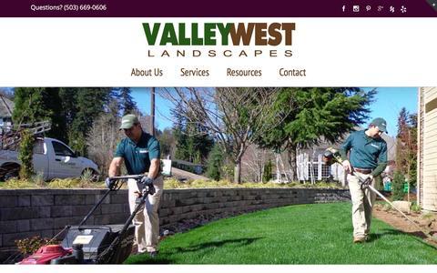 Screenshot of Home Page valleywestlandscapes.com - Affordable landscapers for lawn care & yard maintenance - captured Feb. 23, 2016