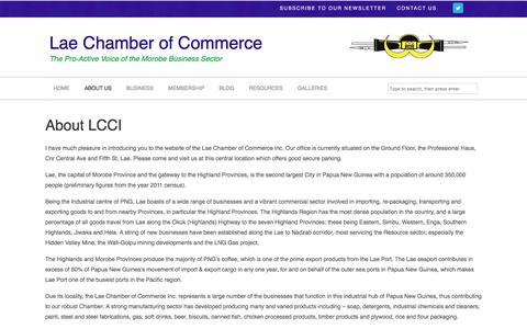 Screenshot of About Page lcci.org.pg - About LCCI | Lae Chamber of Commerce - captured April 11, 2017