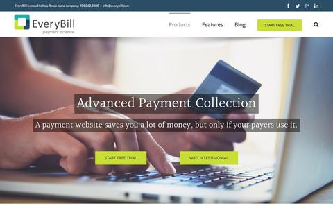 Screenshot of Products Page everybill.com - Advanced Payment Collection | EveryBill - captured Dec. 12, 2015