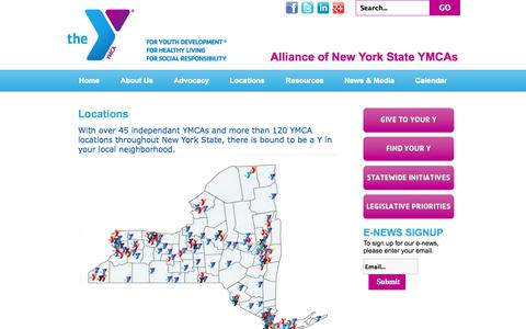 Screenshot of Locations Page ymcanys.org - Locations - captured Oct. 4, 2014