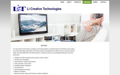 Screenshot of Services Page licreative.com - Li Creative Technologies - Services - captured Sept. 28, 2018