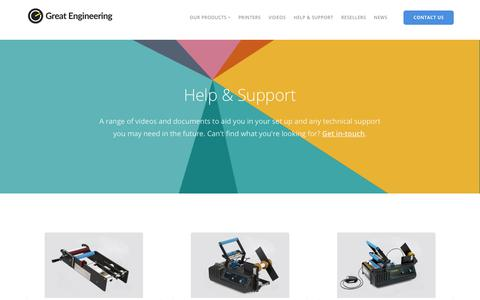 Screenshot of Support Page greatengineering.com - Help & Support - Great Engineering - captured July 22, 2018