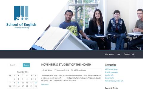 Screenshot of Blog abcschool.co.uk - ABC School of English – Friendly Learning - captured Nov. 13, 2016