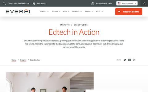 Screenshot of Case Studies Page everfi.com - Education Technology Case Studies | EVERFI - captured June 18, 2019