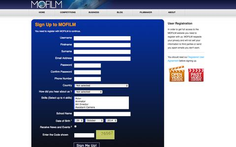 Screenshot of Signup Page mofilm.com - my.mofilm.com - Register New User - captured Oct. 29, 2014