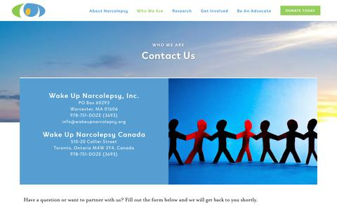 Screenshot of Contact Page wakeupnarcolepsy.org - Contact | Wake Up Narcolepsy - captured Nov. 6, 2018