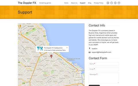 Screenshot of Support Page thedopplerfx.com - Support | The Doppler FX - captured Sept. 30, 2014