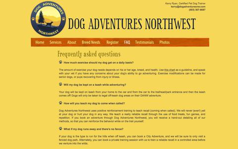 Screenshot of FAQ Page dogadventuresnw.com - Dog Adventures Northwest - Frequently Asked Questions - captured Feb. 9, 2016