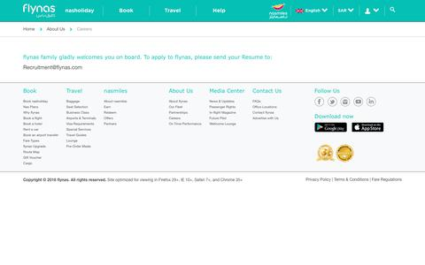 Screenshot of Jobs Page flynas.com - flynas Careers  Jobs at flynas   flynas.com - captured Sept. 7, 2018