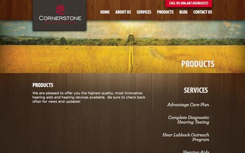 Screenshot of Products Page hearlubbock.com - Products | Cornerstone Audiology - captured Oct. 1, 2014