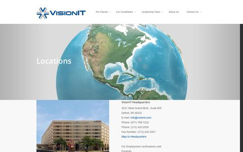 Screenshot of Contact Page Locations Page visionit.com - Locations |  VisionIT - captured Oct. 26, 2014