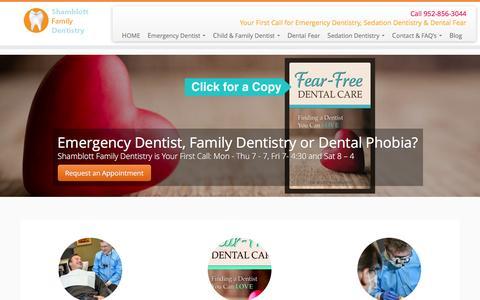 Screenshot of Home Page shamblottfamilydentistry.com - Shamblott Family Dentistry, Emergency Dentist, Hopkins Dentist, Sedation, Dental Fear - captured Feb. 28, 2016