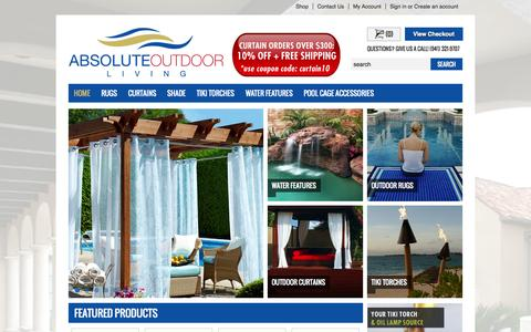 Screenshot of Home Page absoluteoutdoorliving.com - Outdoor Patio Curtains | LED Lanai Lighting | Outdoor Fireplaces - captured Sept. 30, 2014
