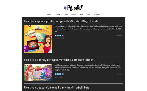 Screenshot of Press Page plumbee.com - Plumbee expands product range with Mirrorball Bingo launch Plumbee - captured Sept. 12, 2014