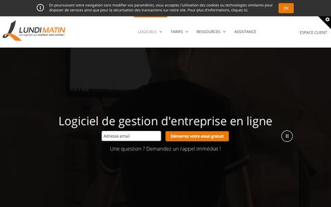 Screenshot of Home Page lundimatin.fr - Logiciel de gestion commerciale - ERP - CRM by LUNDI MATIN - captured June 18, 2015