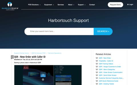 Screenshot of Support Page harbortouch.com - QSR - New Order with Caller ID : Harbortouch Support Center - captured Oct. 9, 2018