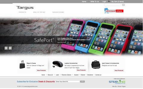 Screenshot of Home Page targusonline.com - Targus India Online store, Laptop Accessories in India, Targus Laptop Bags, Mice/Pointers, PDA/Handheld Accessories in India, Cables and Hubs, Drives/Storage in India, Laptop Cases in India, Slim Laptop Cases, Messenger Bags in India, Laptop Backpack - captured Sept. 19, 2014