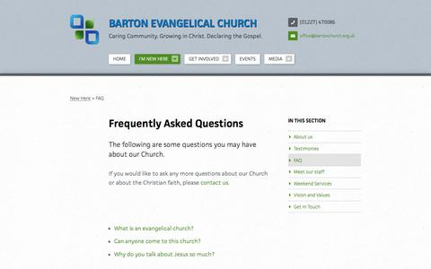 Screenshot of FAQ Page bartonchurch.org.uk - Frequently Asked Questions   I'm New Here   Barton Evangelical Church - captured April 4, 2016