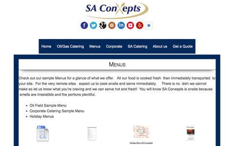 Screenshot of Menu Page saconxepts.biz - Catering Eagle Ford Shale | , Cline Shale | Food Service, Eagle Ford Shale - captured Oct. 3, 2014