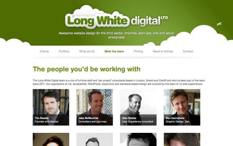 Screenshot of Team Page longwhitedigital.co.uk - Meet the team | Long White Digital Ltd - captured Feb. 1, 2016