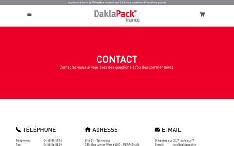 Screenshot of Contact Page daklapack.fr - [Contact] - captured Feb. 9, 2018