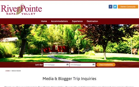 Screenshot of Press Page riverpointeresort.com - Media Room - RiverPointe Napa Valley - captured Oct. 18, 2016