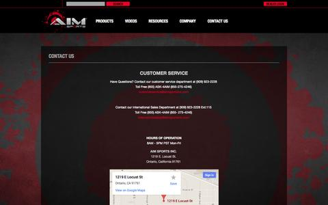 Screenshot of Contact Page Maps & Directions Page aimsportsinc.com - AIM Sports Inc.®    Shooting     Hunting     Tactical Accessories - captured Oct. 23, 2014