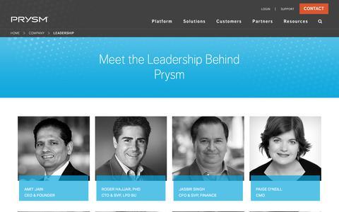 Screenshot of Team Page prysm.com - Meet Our Leadership Team | Meet the Prysm Leaders | Prysm Leadership - captured Sept. 19, 2017