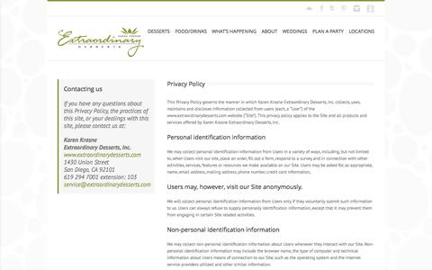 Screenshot of Privacy Page extraordinarydesserts.com - Privacy Policy | Extraordinary Desserts - captured Oct. 28, 2014