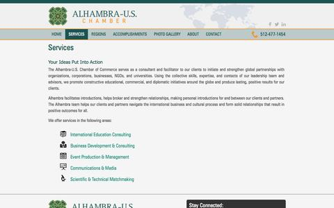 Screenshot of Services Page alhambrauschamber.org - Services | Alhambra-U.S. Chamber - captured Oct. 4, 2014