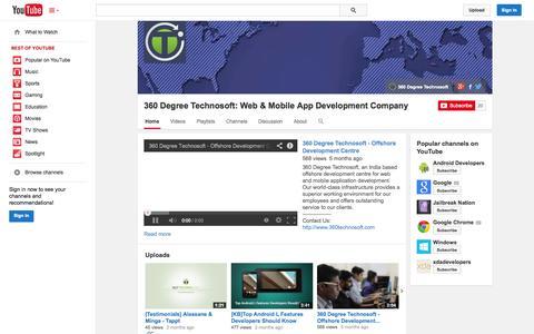 Screenshot of YouTube Page youtube.com - 360 Degree Technosoft: Web & Mobile App Development Company  - YouTube - captured Oct. 31, 2014